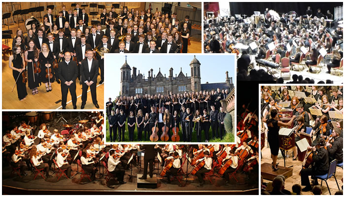 Picture of various Music Service students and Orchestra bands