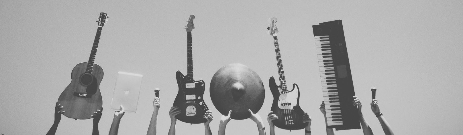 Black and White Photo of Musical Instruments
