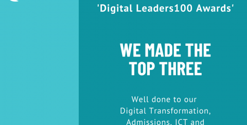 Image congratulating the EA Digital Transformation, Admissions, ICT and Communications teams for making it to the final of the Digital Leaders Awards