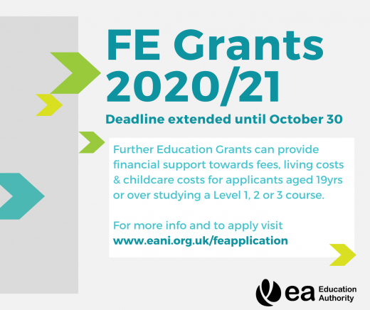 Image stating that FE Grants deadline has been extended until October 30th